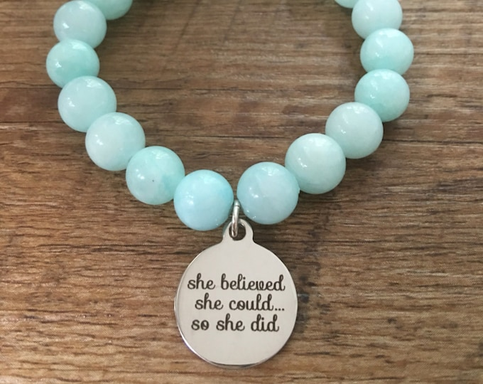 She believed She Could...So She Did Bracelet, stretch bracelet, crossfit jewelry, beaded bracelet