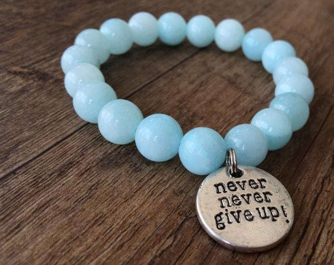 Never Never Give Up bracelet, motivational jewelry, motivational bracelet, charm bracelet,Survivor ,fighter, Breast Cancer