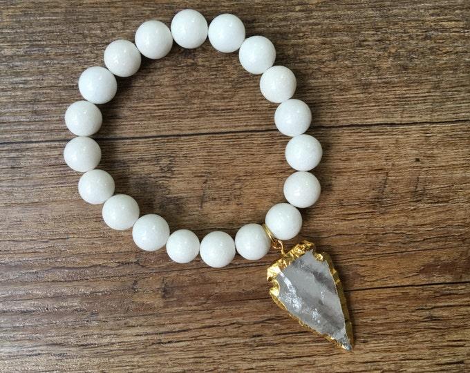 Jasper Arrowhead Charm with Gold tone Edging White Jade Bracelet, Beaded Stretch Bracelet, Boho Bracelet