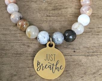 Just Breathe Stainless Steel Beaded Bracelet