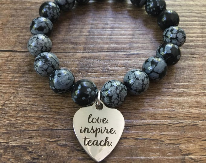 Love Teach Inspire Charm Beaded Bracelet