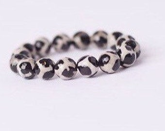 Giraffe Agate Bracelet- Statement- Black and Cream- Faceted- Great for Stacking