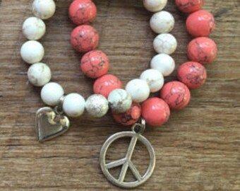 Little Girl Peace and Love Bracelet Stack