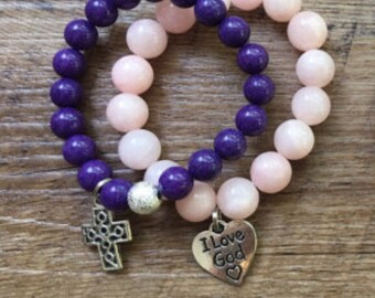 Girl Cross and Love God Bracelet Stack