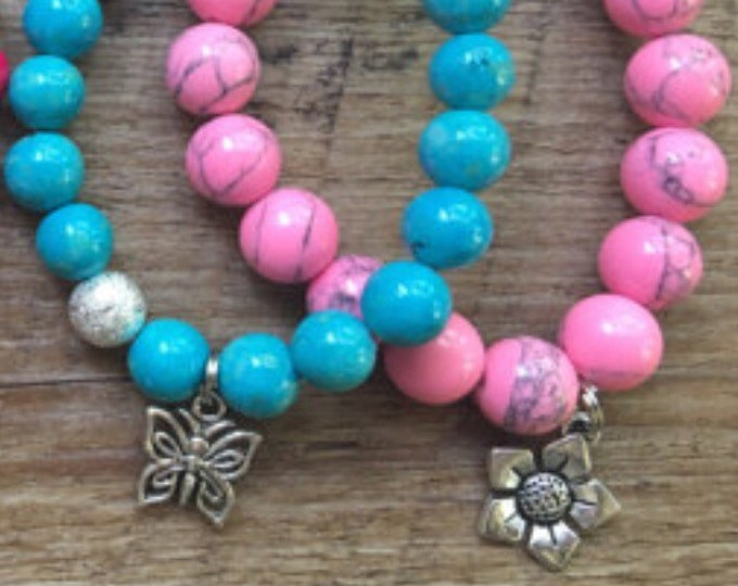 Little Girl Flower/Butterfly Bracelet Stack