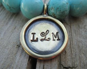 Monogram bracelet, personalized bracelet, Hand Stamped bracelet, hand stamped charm bracelet,Charm,Bead, Stretch, bracelet stack