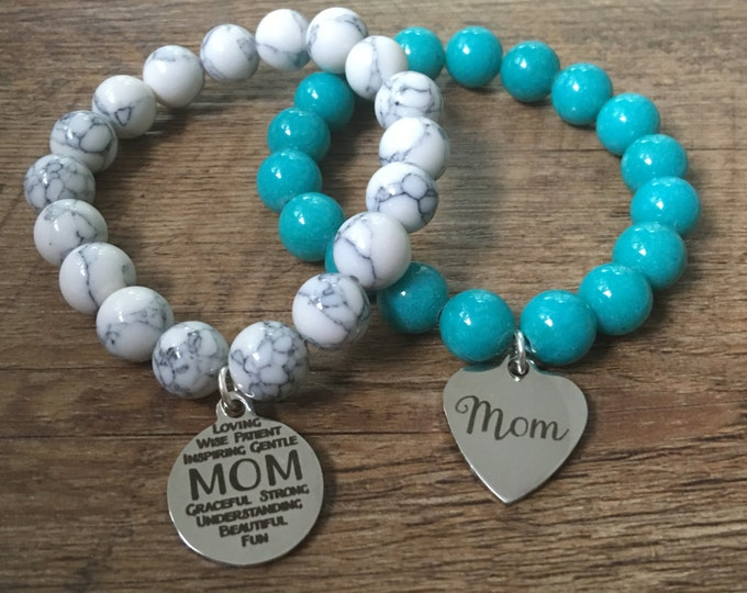Mom Charm Beaded Bracelet, stretch bracelet, Your choice of charm
