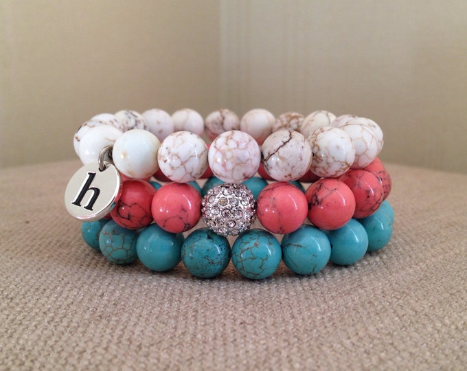 Bracelet Set, white howlite, turquoise howlite and coral- stackable, bracelet stack, teacher gift, pave, stretch, monogram, initial