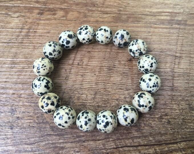 Dalmatian Jasper 12mm Bracelet