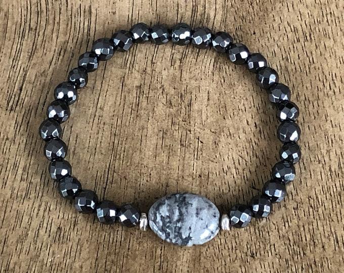 Silver Crazy Lace Oval Bracelet