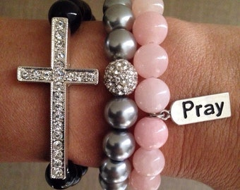 3pc Set Stackable Bracelets- Silver Pave Sideways Cross with Black beads, Silver Pearl with silver pave, and Rose Quartz with Pray tag