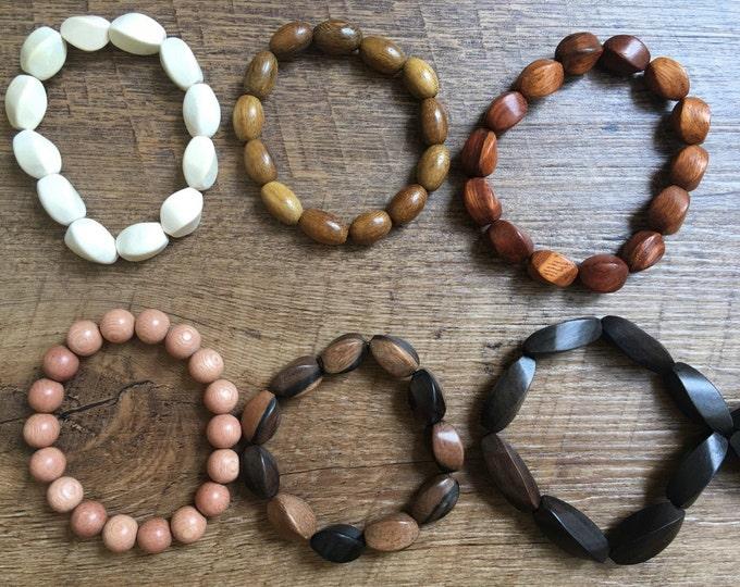 Wood Bracelet, Single Wood Bracelet, White Wood Bracelet, Red Wood Bracelet