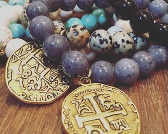 Coin charm bracelet, gold medallion charm, silvr medallion charm, boho charm bracelet, spanish coin charm bracelet, boho chic, stretch