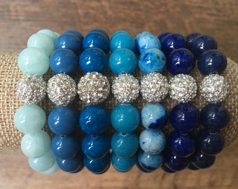 Pave Bracelet, Blue Stretch Bead Bracelet