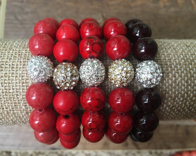 Pave & Shades of Red 10mm Bead Bracelet