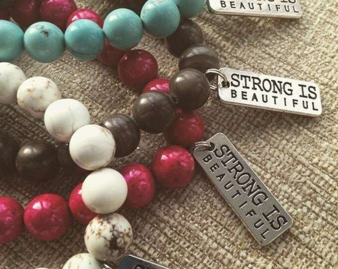 Crossfit Jewelry- Strong is Beautiful bracelet-Stackable-motivation, truth, survivior, crossfit, fitness