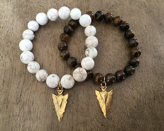 Arrowhead Charm Bracelet, Beaded Stretch Bracelet, Boho Bracelet