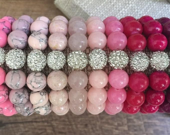 Pave Bracelet, Pink, stretch Bead Bracelet