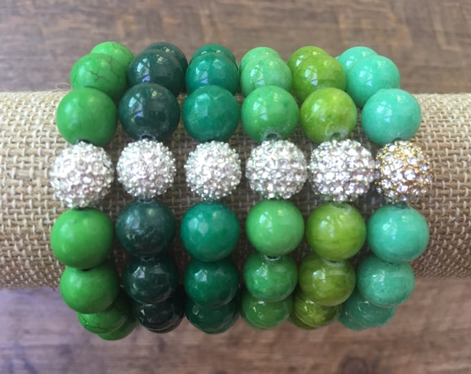 Pave & Shades of Green 10mm Bead Bracelet
