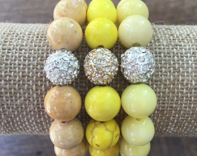Pave Bracelet, Yellow Stretch Bead Bracelet