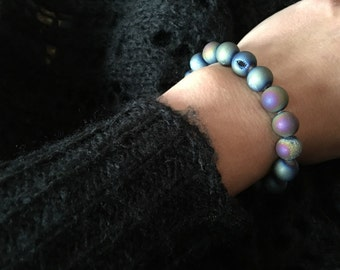 Druzy Matte Rainbow Titanium Bracelet-stretchy- perfect for stacking