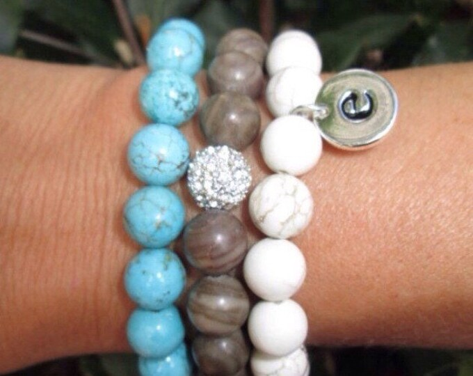 Initial Charm Bracelet Stackable Set with White Magnesite with double sided initial charm, Turquoise Howlite,  Woodgrain Stone and Pave Bead