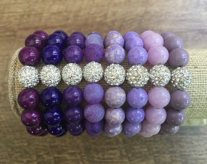 Pave Bracelet, Purple Stretch Bead Bracelet