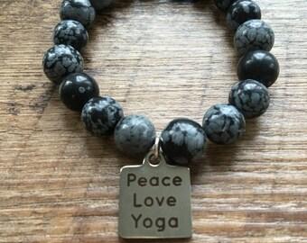 Peace, Love, Yoga Bracelet, stretch bracelet, beaded bracelet
