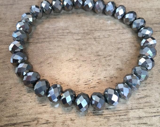 Silver Gunmetal Rondelle Sparkle Bracelet
