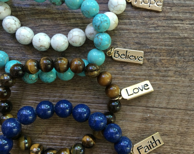 Faith Charm, Hope Charm, Love Charm, Pray Charm, Believe Charm, Dream Charm Bracelet