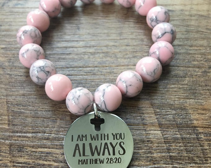I Am With You Always Charm Beaded Bracelet