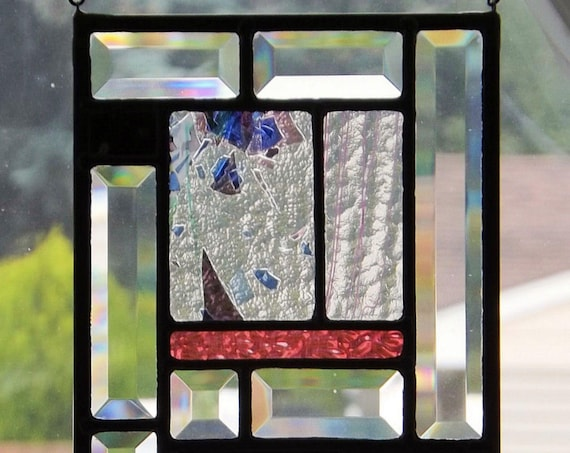"""""""Beautiful Confetti"""" Stained Glass Panel Confetti Pink Stringer Abstract Black Pink Purple Green Blue White Clear Home Decor"""