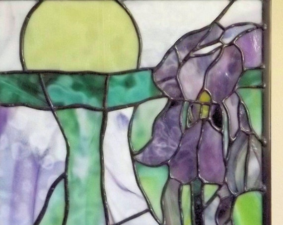 """Dreamscape, Tie Dye Iris"" Stained Glass Panel Purple Iris Original Handmade Surreal Flower Yellow Sun"