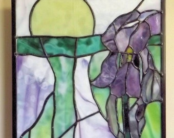 """Tie Dye Iris"" Stained Glass Panel Purple Iris Original Handmade Surreal Flower Yellow Sun"