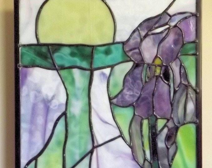 """Tie Dye Iris"" Stained Glass Panel Purple Iris Original Handmade Surreal Flower Yellow Sun"