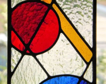 """Shapes"" Stained Glass Geometric Abstract Panel Sun Catcher Primary Colors Blue Red Yellow Clear Glass  Home Office"