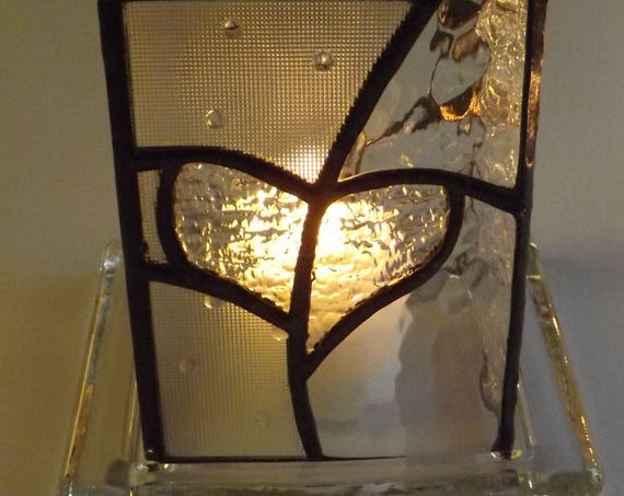 """""""Burning Heart"""" Stained Glass Handmade Heart Surround Clear Glass Molded Candle Holder Red Micro Lights Glass Love"""