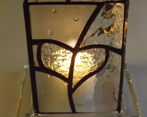 """Burning Heart"" Stained Glass Handmade Heart Surround Clear Glass Molded Candle Holder Red Micro Lights Glass Love"