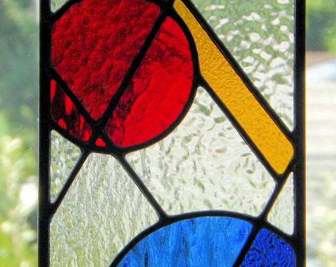 """""""Primary"""" Stained Glass Geometric Abstract Panel Sun Catcher Primary Colors Blue Red Yellow Clear Glass  Home Office"""