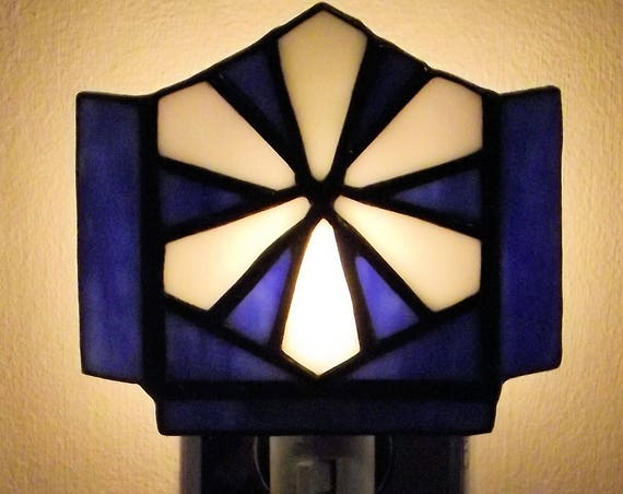 """Snows of Winter"" Stained Glass Night Light Blue and White Winter Handmade Snowflake Home Decor"