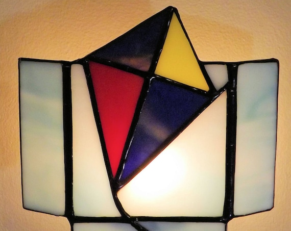 """Flying High"" Night Light Stained Glass Kite Red Blue Yellow Home Decor Handmade"