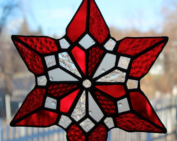 Stained Glass Heart Snowflake Valentine Red Clear Art Glass Suncatcher Love Home Decor