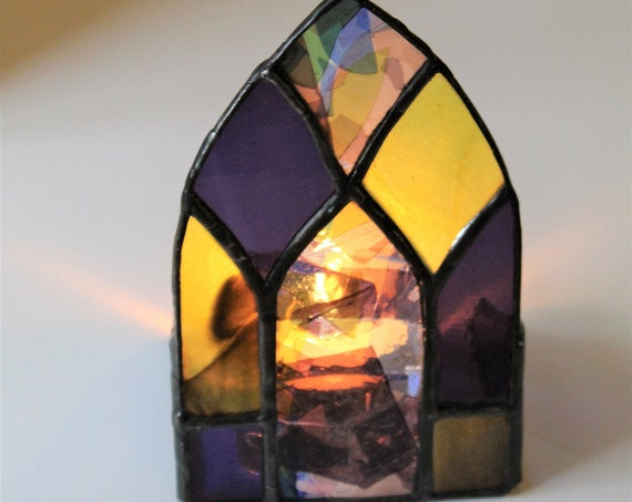 Stained Glass Tea Light Candle Shield Purple Yellow Blue Mini Table Top Panel Lancet Gothic Window