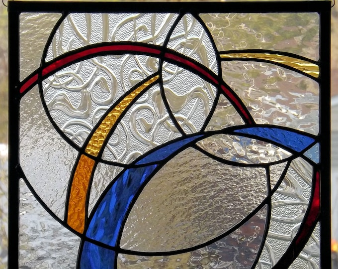 """Swirling Ribbons"" Stained Glass Panel Geometric Abstract Primary Colors Red Blue Yellow Clear Handmade Original Home Office Decor"