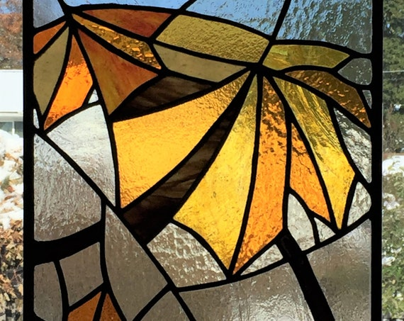 Maple Leaves Stained Glass Panel Autumn Colors Brown Yellow Orange Red Thanksgiving Fall Home & Living Window Decor