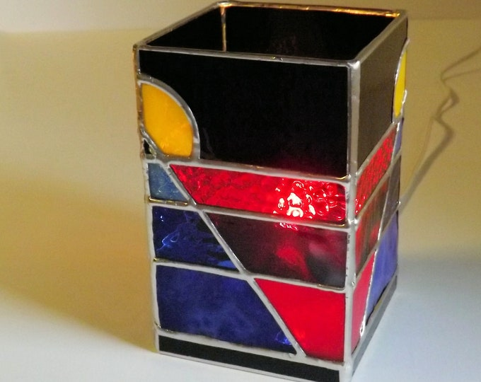 """""""Blue Pyramid Light""""  Stained Glass Table Top Accent Lamp Primary Colors Blue Pyramid Original Abstract Night Light Red Blue Yellow Black"""