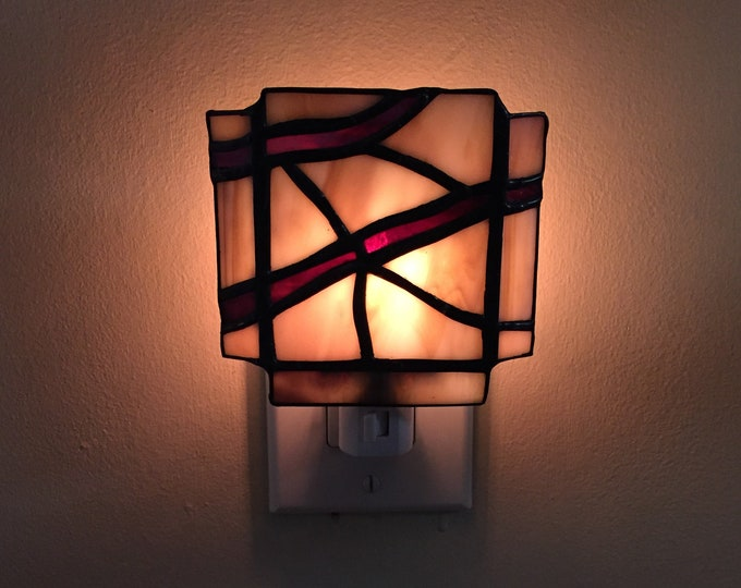 Stained Glass Tree Branch Night Light Natural Colors Brown Cream On Off Switch Handmade
