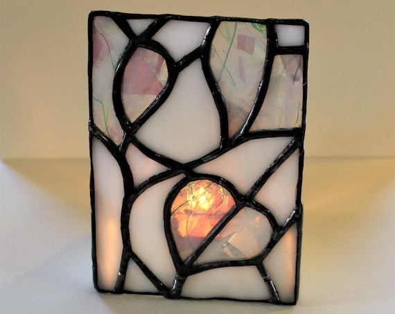 Stained Glass Hearts Tea Light Candle Shield Mini Table Top Glass Panel Night Light Home Decor Valentine's Day Love