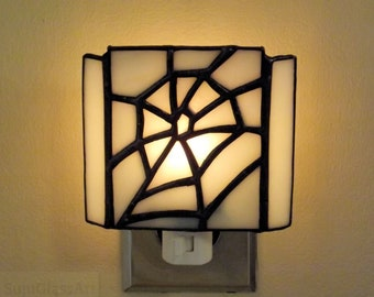 """White Web"" Stained Glass Night Light Spider Web On Off Switch Home Office Decor Halloween"