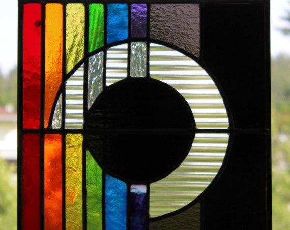 """Eclipse"" Stained Glass Panel Glass Art Rainbow Eclipse Home Office Decor"